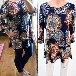 Tops - Navy Medallion Print Tunic With Ruffle Sleeves